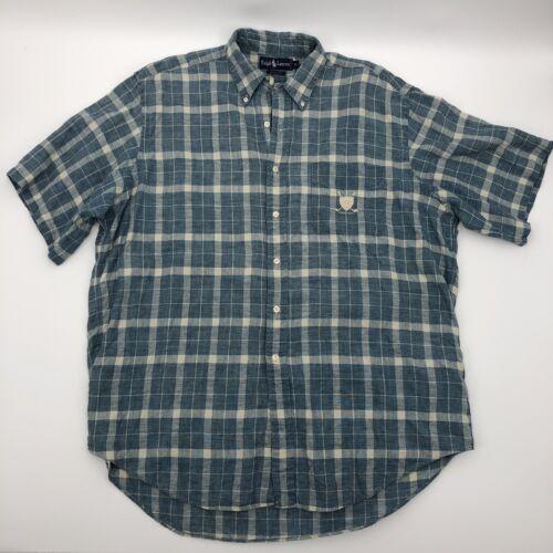 Vintage 90s ANCHOR BLUE Classic Denim Shirt Natural Indigo Cotton Linen Jean Basic Long Sleeve Button Collared Oxford Unisex Mens Medium