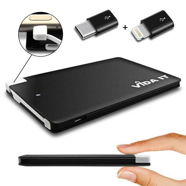 Slim Power Bank Portable Charger For Phone with extra USB-C and iPhone Adapters