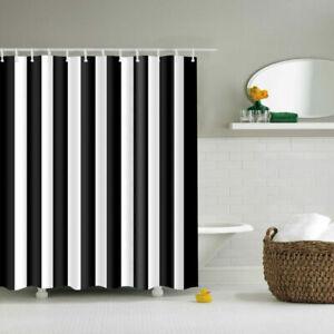 Black White Split Polyester Waterproof Bathroom Fabric Shower Curtain 12 Hook