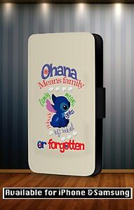 Disney-Lilo-And-Stitch-Ohana-Family-Quote-Faux-Leather-Flip-Phone-Case-CoverY104