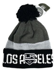 Reebok Center Ice NHL Los Angeles Kings Cuffed Pom Beanie Toque Hat NWT $25