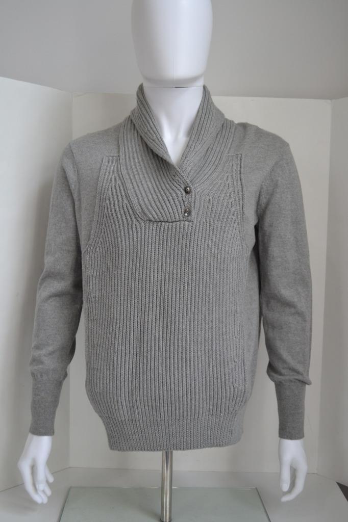 Alexander Wang Grau Shawl-Collar Pull-over  Herren Wool Sweater, Größe S