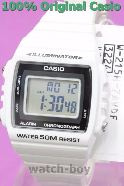 W-215H-7A White 50m Casio Watch Unisex Digital Alarm Chronograph Resin Band New