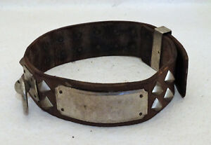 Antique-Leather-and-silvered-Brass-Dog-Collar-19th-century