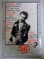 "Sid Vicious Poster ""Don't Let Them Take You Alive"" 1987 Vintage Sex Pistols"