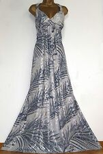MONSOON ✩ STUNNING BLUE & SILVER SHIMMERING CHIFFON MAXI EVENING DRESS ✩ SIZE 18