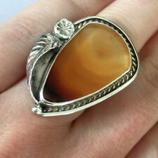 NATIVE AMERICAN HANDMADE 925 STERLING STRIPPED ORANGE AGATE LADIES RING Sz 5