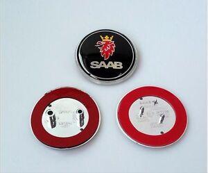 2pcs Saab Front Hood Emblem Badge Decal Symbol 68mm Rear Trunk Logo 9-3 93 95