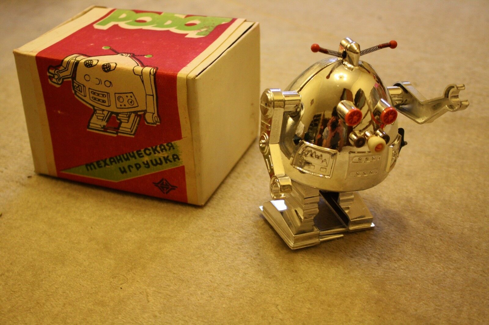 Super rare NEW in Box - Russian Soviet Ussr Space Toy Pogot EGG ROBOT - CHROME