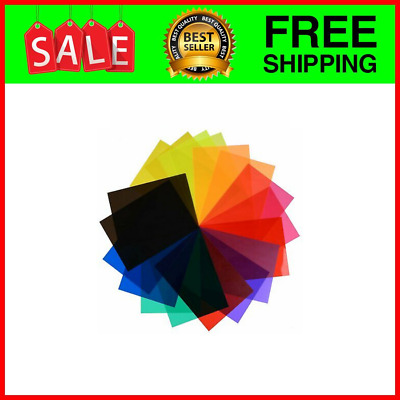 eBoot 18 Pieces Correction Gel Light Filter Transparent Color Lighting Film Plastic Sheets 9 Colors 11.7 by 8.3 Inches
