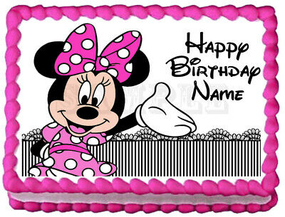 Wondrous Cake Toppers Minnie Mouse 1St Birthday Party Edible Cake Image Funny Birthday Cards Online Kookostrdamsfinfo