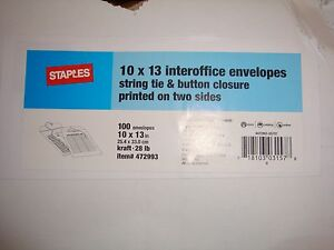 "100ct BOX 10/"" x 13/"" Button /& String Kraft Inter-Departmental Envelopes Brown"