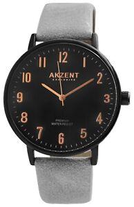Akzent-Herrenuhr-Schwarz-Grau-Analog-Metall-Kunstleder-Armbanduhr-X2900190003