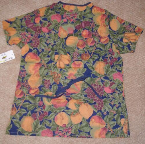 Scrubeez Moc Wrap Scrub Top W// Bottom Pockets Fall Fruit Print Sz XS to Medium