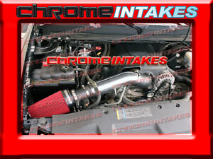 99-07 CHEVY//GMC//CADILLAC TRUCK//SUV 4.8//5.3//6.0//8.1 COLD AIR INTAKE+CHF Black Red