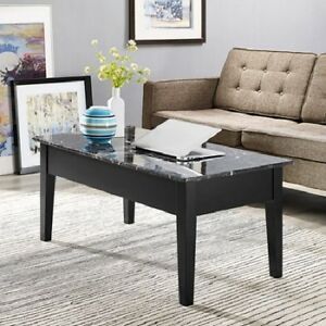 NEW Faux Marble Lift Top Coffee Table Black Solid Wood with Storage Tray Wood
