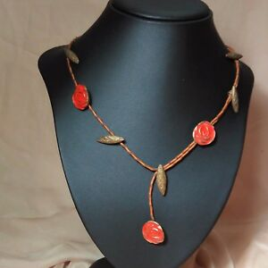 Red-Rose-handmade-brass-and-leather-necklace