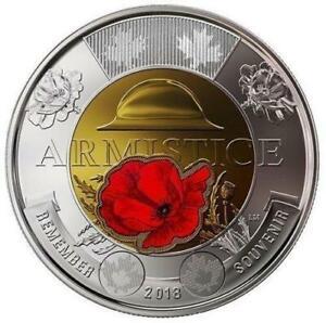 ~ BU from roll TOONIE CANADA 2018 ARMISTICE COLORED POPPY ~ 2 Dollar Coin