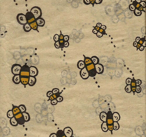 20 Large Sheets Buzzing BUMBLE BEE Tissue Paper on Kraft background # 0265