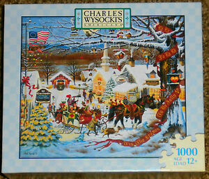 image is loading new charles wysocki small town christmas jigsaw puzzle - Small Town Christmas