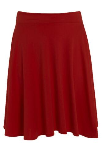 Nouveau Haut Plus Taille Uni Évasé Taille Élastique Femme Courte Jupe de Patineuse 14-26