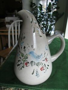 Pitcher USA Studio Pottery Hand Painted See Mark Mid Century Modern 10.5 Vintage