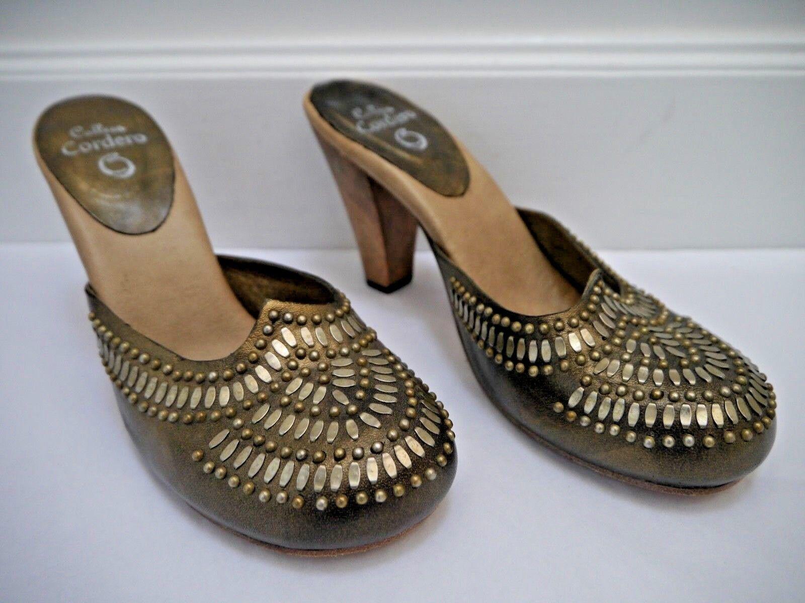 NEW CALLEEN CORDERO bronze leather metal stud detail mules heels size 9