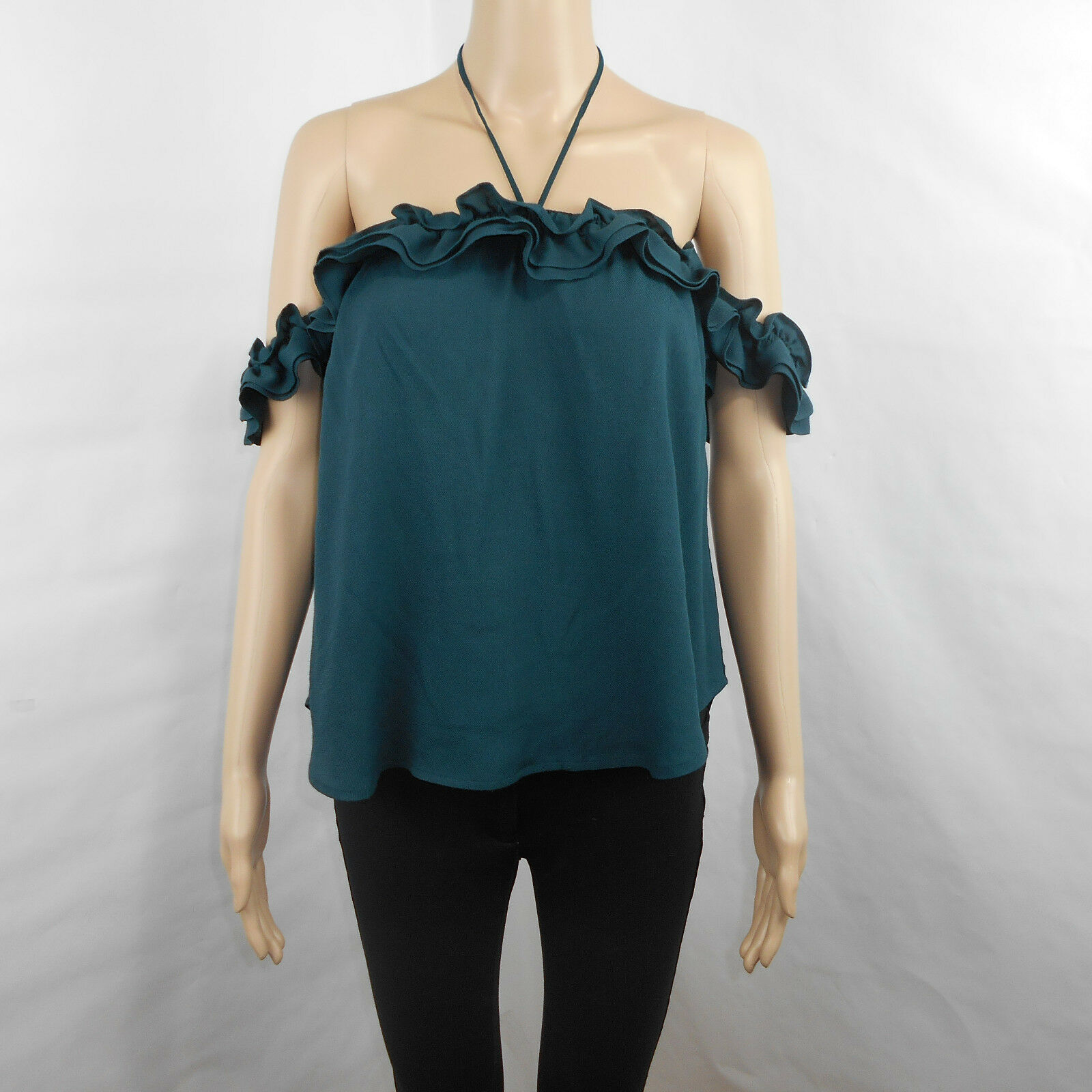 McGuire Norfolk Off-The-Shoulder Ruffled Georgian Glass Green Top Size S Small