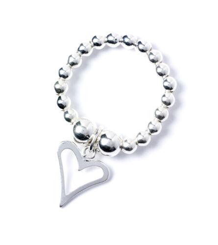 925 argento Sterling Sfera Perlina Toe Ring con OPEN HEART CHARM rtr003