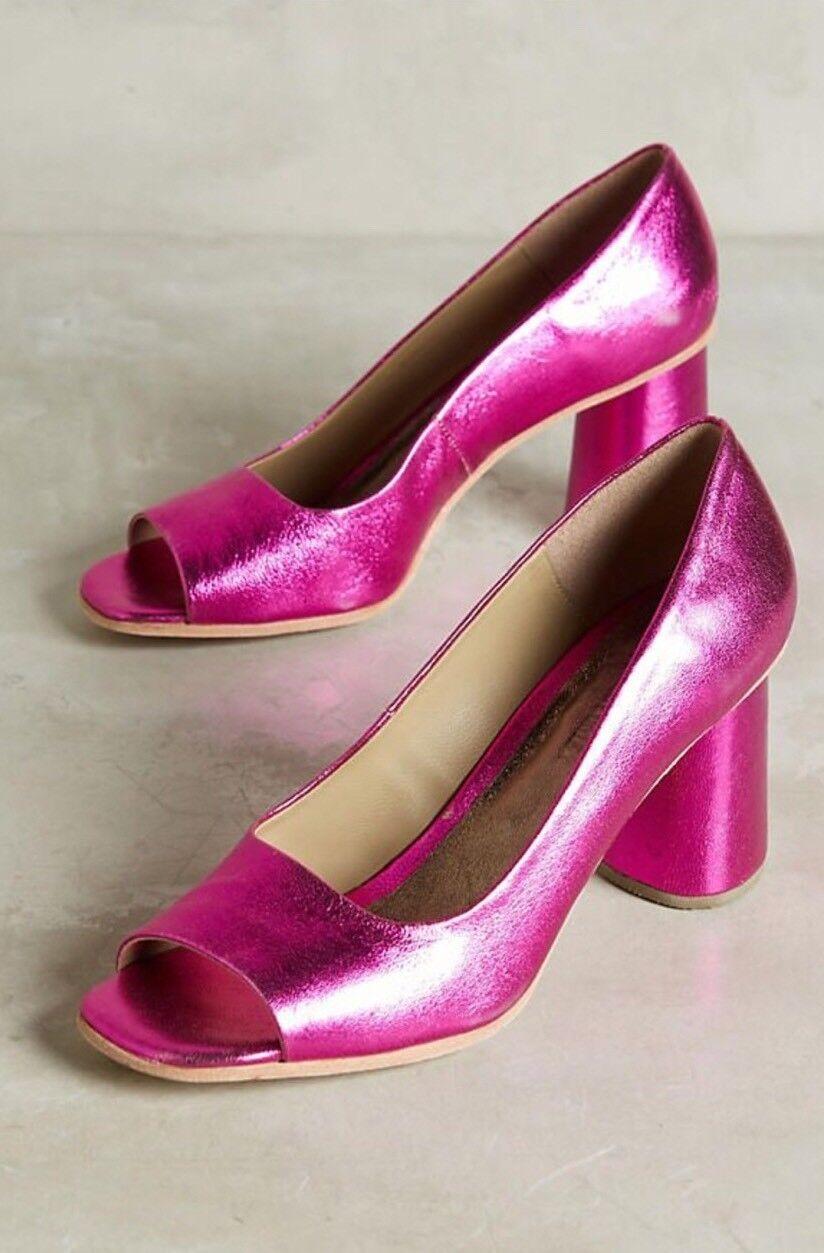 NWD Rachel Comey Kinzey Purple Metallic Block Heels Größe 7 Peep Toe Pumps