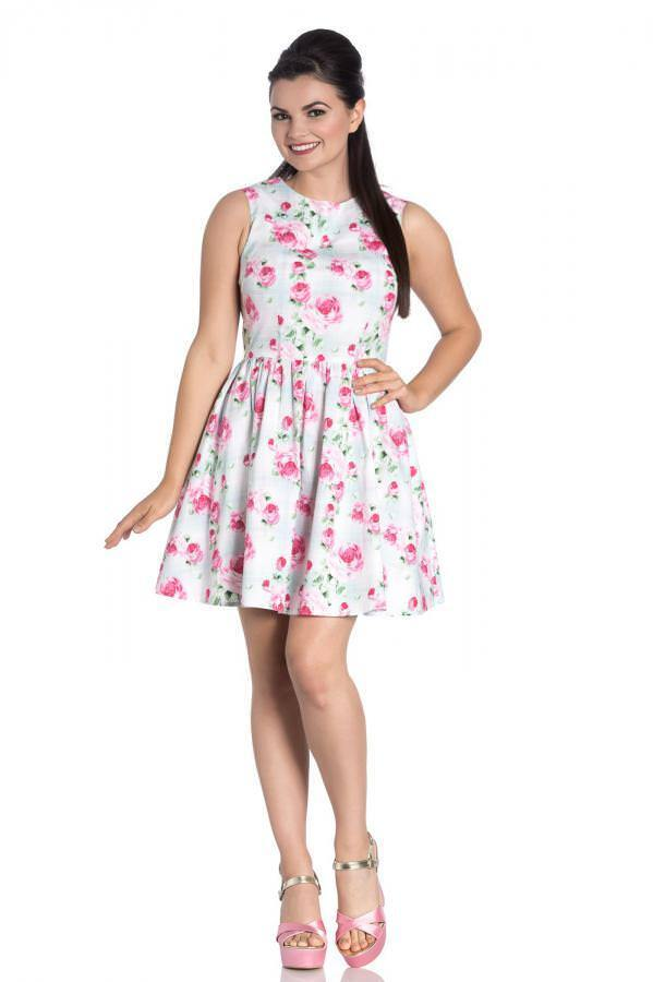 Vestido mini vuelo sin mangas print pinks Natalie mini dress 4792 Hell Bunny