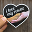 I Love My Rescue Dog Decals for Cars Heart Shaped Stickers Laptop Window Bumper