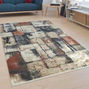 Dettagli su Tappeto da soggiorno a pelo corto dal moderno design astratto  con effetto mosaic