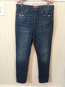 Madewell-Women-039-s-Sz-28-High-Rise-Slim-Boyjean-Jeans-Distressed-Pockets