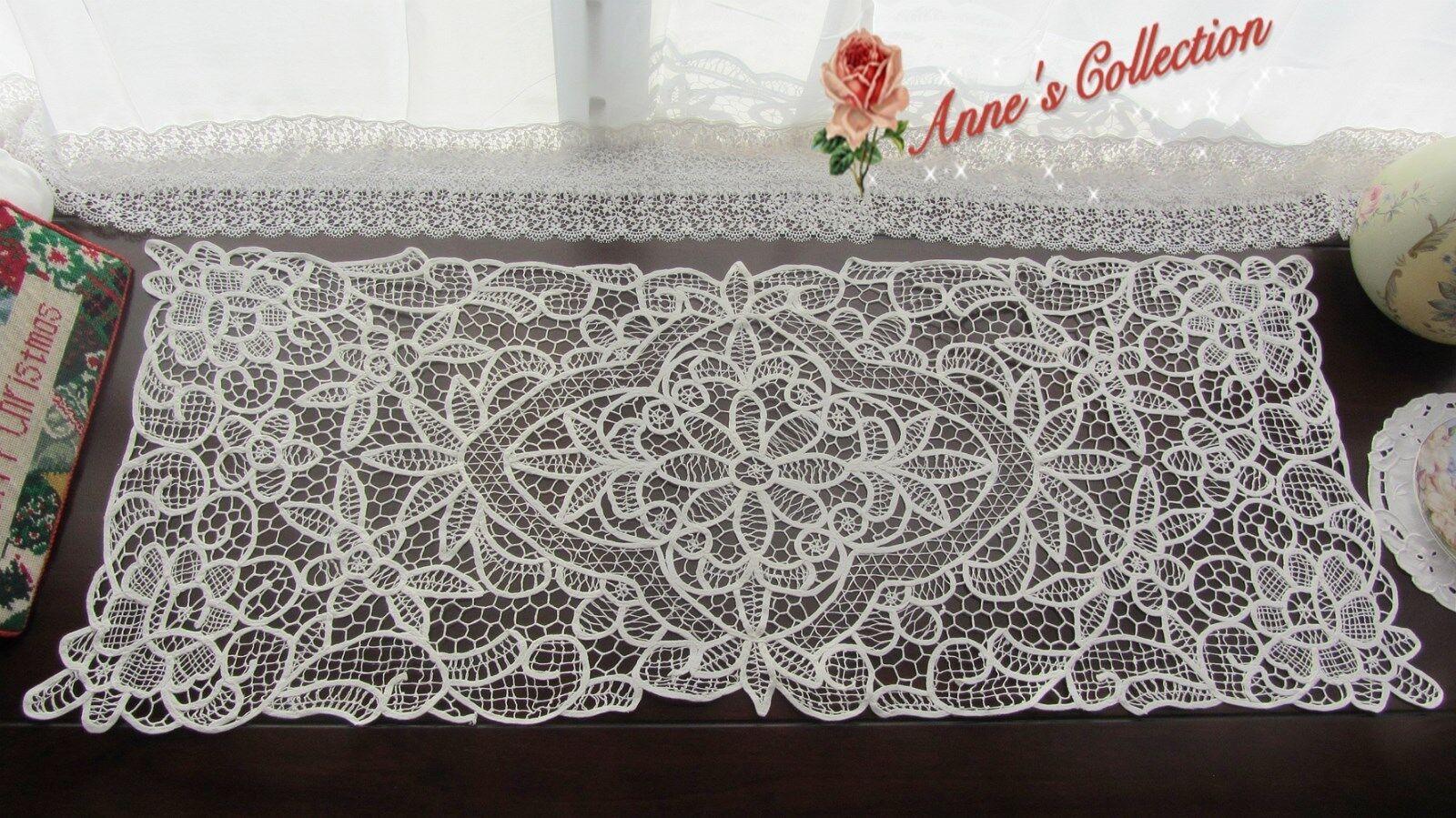 12PCS beau replongé Lace Table Runner commode  Blanc  Coton  ROSE & DAISY