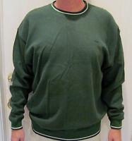 Alexander Julian Dark Green 100% Cotton Crew Neck Sweater Men's Size M