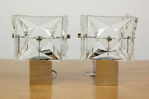 Original-Kinkeldey-Wall-or-Mirror-Lamps-Glass-Vintage-Mid-Century-1960-039-1970-039-s