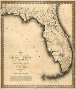 Details about Florida 1823 Historic Decorative Wall Map - 16x20