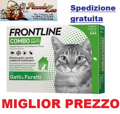 Frontline Combo 3 Pipette Antiparassitario Per Gatto Antipulci Scad 11/21