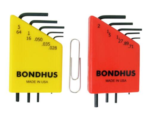 Bondhus 20393 10pc Micro Mini Hex L Wrench Set Metric SAE