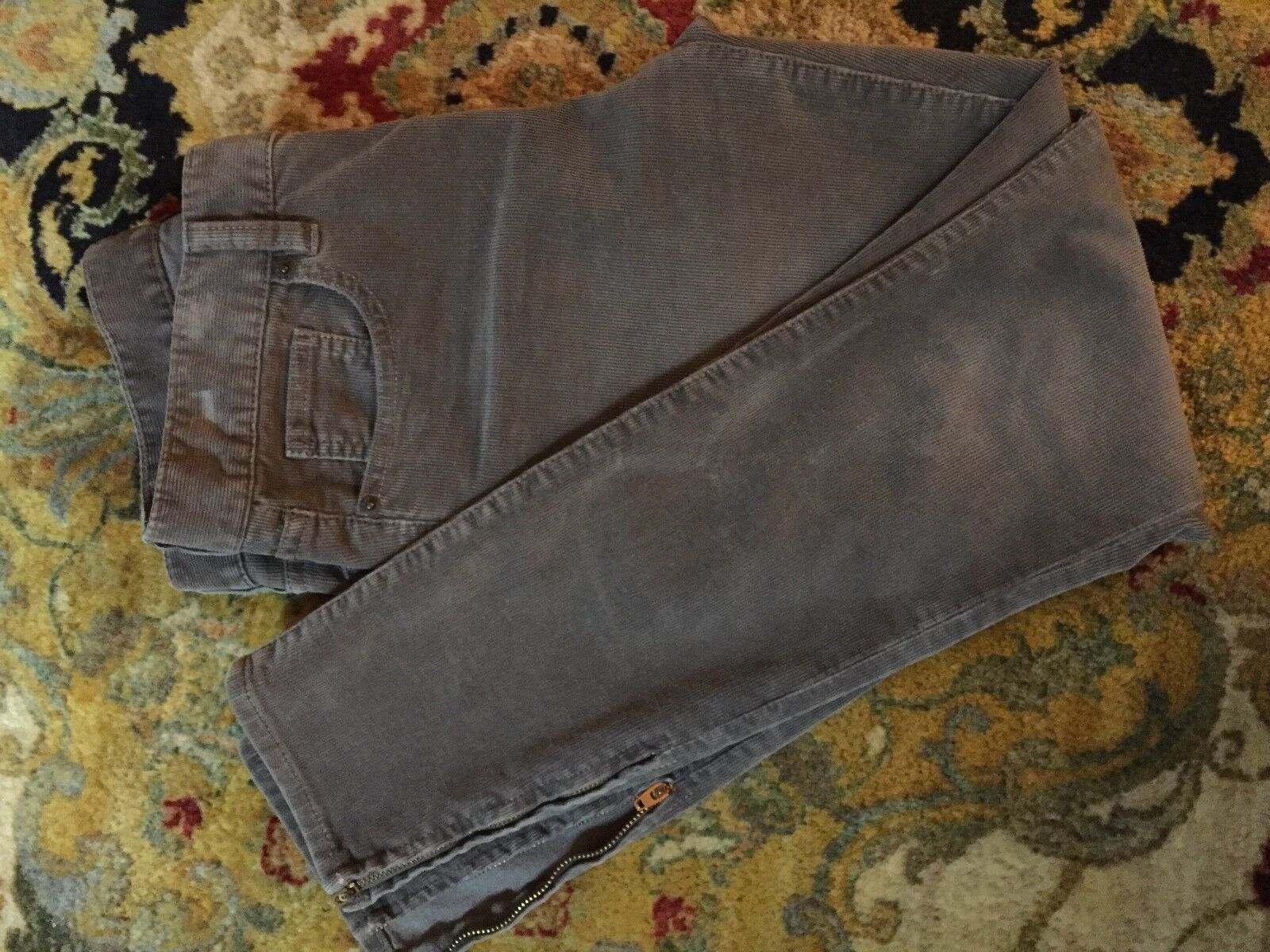 Taupe Skinny Jeans Cords Ankle Zip J. Crew Pants Stretch Corduroy