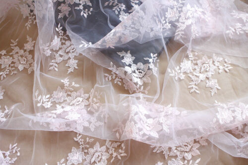 Multi-Colour Bridal Dress Lace Fabric Blossom Wedding Embroidery DIY Tulle 1 M
