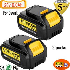For-DeWalt-20V-20-Volt-Max-XR-6-0AH-Lithium-Ion-Battery-DCB206-2-DCB205-2-2-Pack