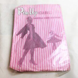 Vintage-Pin-Up-Girl-Resille-Stocking-Retro-Neuf-Scelle-Dove-Beige