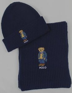 f27fb5b3ead26 Polo Ralph Lauren Collectable Navy Blue Teddy Bear Scarf Beanie Hat ...