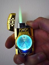 GOLD JET TORCH LIGHTER WATCH GAS WINDPROOF LIGHTER FLAME  CIGARETTE LIGHTER UK