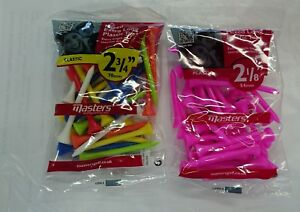 MASTERS-PLASTIC-GOLF-TEES-LONG-OR-EXTRA-LONG-MULTI-COLOUR-OR-PINK-NEW