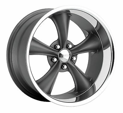 "CPP Boss Motorsports style 338 wheels rims, 18x8 front + 18x9.5 rear, 5x5"" gray"