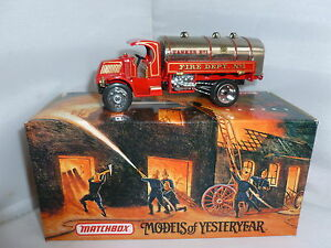 MATCHBOX DIECAST FIRE ENGINE YFE11 1923 MACK AC WATER TANKER