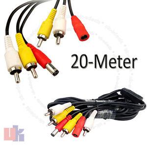 20M-CCTV-Security-Spy-Camera-AV-Audio-Video-RCA-DVR-Power-Phono-Extension-Cable